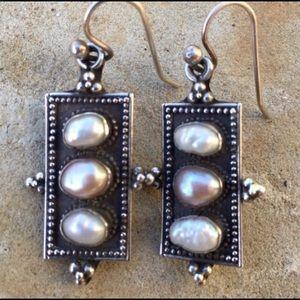 Sterling Potato Pearl Earrings .925